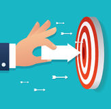 Hand holding arrow icon point to target archery vector, business concept illustration Royalty Free Stock Photos