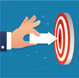 Hand holding arrow icon point to target archery vector, business concept illustration Royalty Free Stock Photography