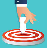 Hand holding arrow icon point to target archery vector, business concept illustration Stock Images