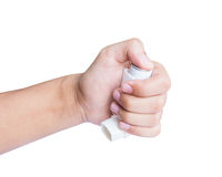 Hand holding asthma inhaler isolated Royalty Free Stock Image