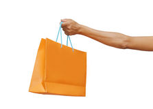 Hand holding bag Royalty Free Stock Images