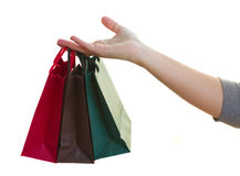 Hand holding bags Royalty Free Stock Photography