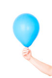 Hand holding balloon isolated on white Royalty Free Stock Photography