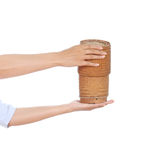 Hand holding bamboo rice box Stock Image