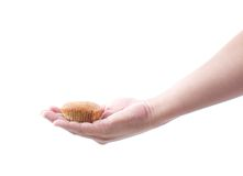 Hand holding banana muffin cake Stock Photography