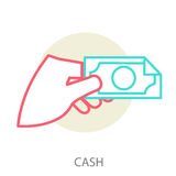Hand holding a banknote Stock Images