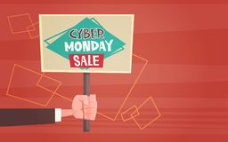 Hand Holding Banner With Text Cyber Monday Sale Deals Design  Royalty Free Stock Images