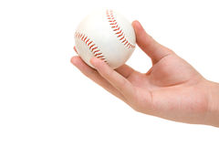 Hand holding baseball ball. On white royalty free stock images