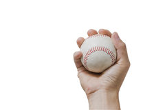 Hand holding a baseball on white background. Royalty Free Stock Photos
