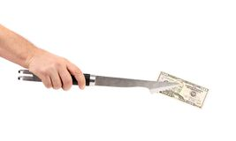 Hand holding of BBQ tongs with fifty dollars bill Royalty Free Stock Image