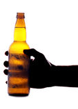 Hand holding beer bottle Royalty Free Stock Photos