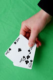 Hand holding best classic blackjack combination ten and ace of c Stock Photo