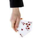 Hand holding best classic blackjack combination ten and ace of h Stock Photos