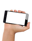 Hand Holding Big Smartphone Blank Screen. Male hand holding bottom up big modern 4.7 inch smartphone landscape orientation with blank screen isolated over white Royalty Free Stock Photography