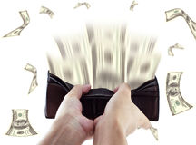 Hand holding Billfold of dollars Stock Images