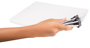 Hand Holding Binder Clip And White Paper IX Royalty Free Stock Photography
