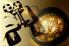 Free Hand Holding Binoculars And Compass In Sepia Tones Stock Photo - 524940
