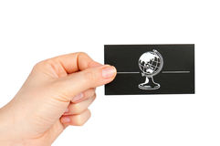 Hand holding black business card Royalty Free Stock Photography