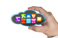 Hand holding black cloud with app icons isolated on white Royalty Free Stock Photos