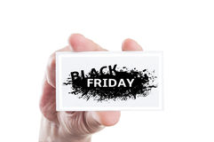 Hand holding Black Friday coupon card. Concept isolated on white background Royalty Free Stock Photo