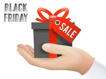 Hand Holding Black Friday Gift Box Sale Discount Tag Present Isolated Icon Shop Realistic 3d Design Template Vector. Hand Holding Black Friday Gift Box Sale Stock Photography