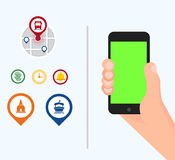 Hand holding black mobile phone with green screen. Vector and travel pin icons stock illustration
