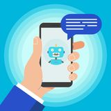 Hand holding black mobile phone isolated on blue background. royalty free illustration
