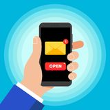 Hand holding black mobile phone isolated on blue background. Smartphone in human`s hand with new message. Closed envelope popped on touchscreen and button OPEN vector illustration