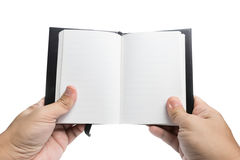 Hand holding Black Notebook Stock Photos
