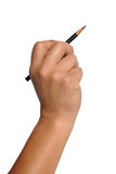 Hand Holding Black Pencil Stock Photography