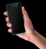 Hand holding Black Smartphone with blank screen Stock Photography