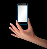 Hand holding Black Smartphone with blank screen Stock Images