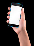 Hand holding Black Smartphone with blank screen Stock Image