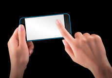 Hand holding Black Smartphone with blank screen Royalty Free Stock Photo