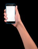 Hand holding Black Smartphone with blank screen Royalty Free Stock Images