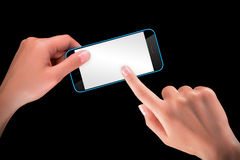 Hand holding Black Smartphone with blank screen Royalty Free Stock Image