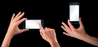Hand holding Black Smartphone with blank screen Stock Photos