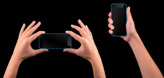 Hand holding Black Smartphone with blank screen Royalty Free Stock Photography