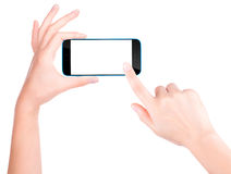 Hand holding Black Smartphone with blank screen Royalty Free Stock Photos