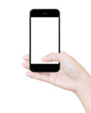 Hand holding black smartphone clipping path screen display Royalty Free Stock Photos