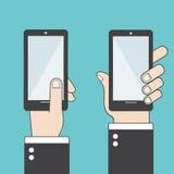 Hand holding black smartphone. Using mobile smart phone, flat design concept. Eps 10  illustration. Royalty Free Stock Photos