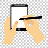 Hand Holding Black Smartphone, Writing with Stylus Pen, at Transparent Effect Background. Vector Hand Holding Black Smartphone, Writing with Stylus Pen, at Royalty Free Stock Photography