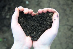Hand holding black soil in the form of heart Royalty Free Stock Photos