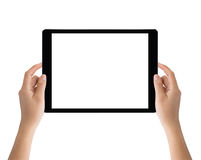 Hand holding black tablet isolated on white clipping path inside Royalty Free Stock Image