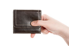 Hand holding a black wallet Royalty Free Stock Images