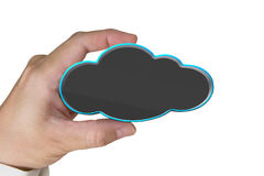 Hand holding blank black cloud isolated on whit Royalty Free Stock Image