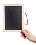 Hand holding blank blackboard Royalty Free Stock Photo