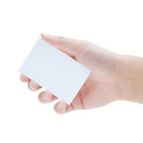 A hand holding a blank business card Royalty Free Stock Photo