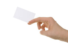Hand holding blank business card Royalty Free Stock Photo