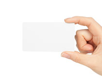 Hand holding blank business card Royalty Free Stock Images